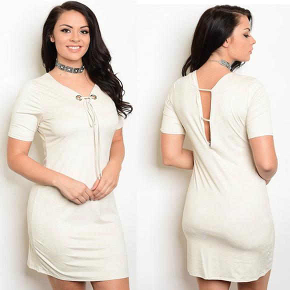 e40d501eff3 Plus size short sleeve mini dress cream dress